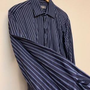 Kenneth Cole dress shirt navy and baby blue Sz L